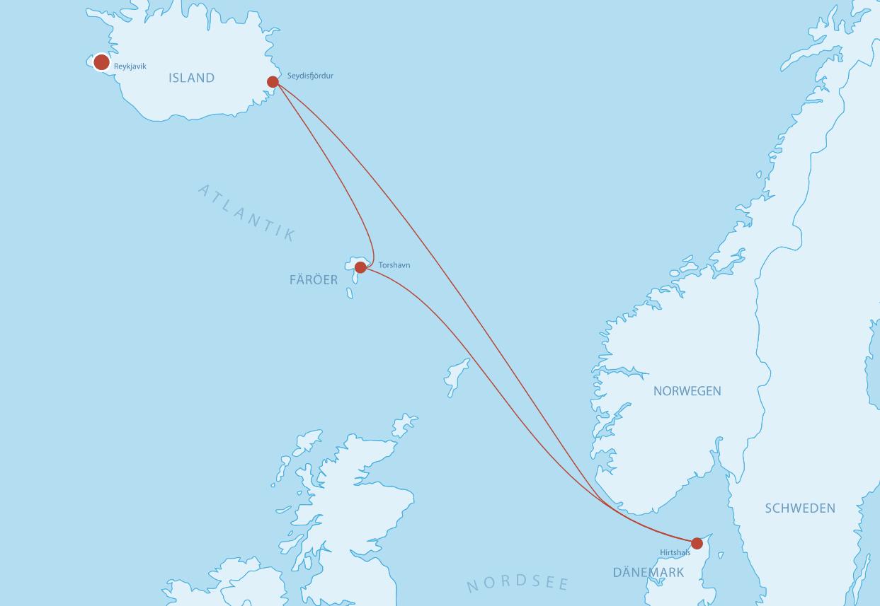Fährverbindungen auf die Färöer Inseln
