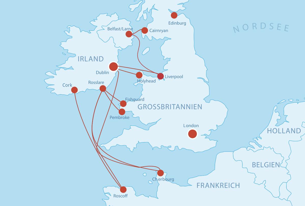 fährverbindungen irland karte Fähren nach Irland   Cruise & Ferry Center AG