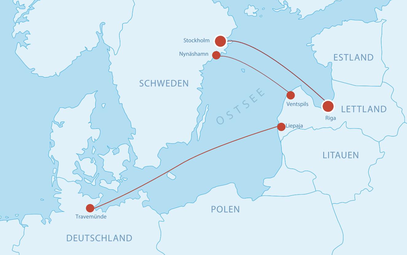 Fährverbindungen nach Lettland
