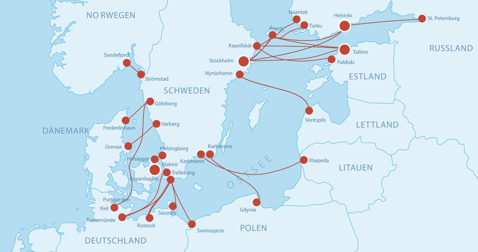 Fährverbindungen nach Schweden